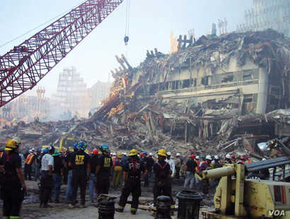 Remains of World Trade Center 3 after collapse of WTC 1 and WTC 2.  Photo: FEMA