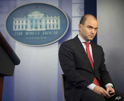 Ben Rhodes, U.S. deputy national security adviserbeing interviewed by CNN, talks in the White House press briefing room about the vulnerabilty of some executive office computer systems to hackers, April 7, 2015.