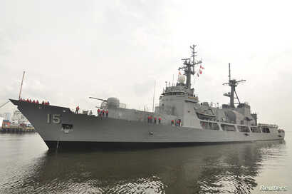FILE - The U.S. Hamilton-class cutter, Manila's largest Navy warship, was sent to check on Chinese fishing boats after a Philippines Navy surveillance plane spotted the Chinese vessels in the Scarborough Shoal, April 8, 2012.