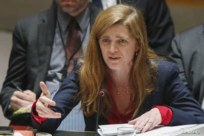 FILE - United States Ambassador to the United Nations Samantha Power addresses members of the U.N. Security Council.