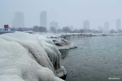 The city skyline is seen from the North Avenue Beach at Lake Michigan, as bitter cold phenomenon called the polar vortex has descended on much of the central and eastern United States, in Chicago, Illinois, U.S., January 29, 2019.
