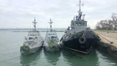 Ukrainian ships detained in Kerch Strait Sunday are docked in this image from video released by Russian Federal Security Service,  Nov. 27, 2018.