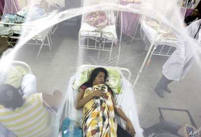 Enclosed in a mosquito net, Nadia Gonzalez recovers from a bout of dengue fever at a hospital in Luque, Paraguay, Feb. 5, 2016.