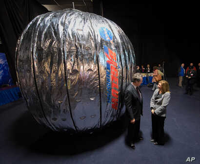 FILE - The Bigelow Expandable Activity Module (BEAM) is shown during a news conference in Las Vegas, Jan. 16, 2013.