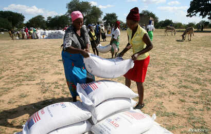 Villagers queue to collect their monthly food aid ration of cereals at a school in drought hit Masvingo, Zimbabwe, June 2, 2016.