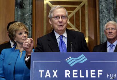 Senate Majority Leader Mitch McConnell, R-Ky., flanked by Small Business Administration Administrator Linda McMahon, left, and Sen. Roger Wicker, R-Miss., speaks to a group of small business owners as Republicans work to pass their sweeping tax bill,...
