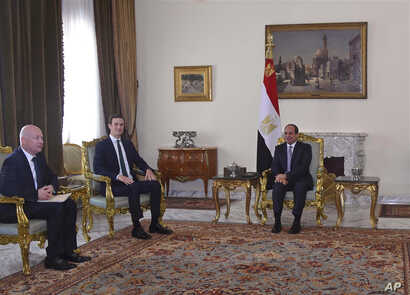 In this June 21, 2018, photo, provided by Egypt's state news agency, MENA, Egyptian President Abdel-Fattah el-Sissi, center, meets with President Donald Trump's son-in-law and senior adviser Jared Kushner, second left, and Middle East envoy Jason Gre...