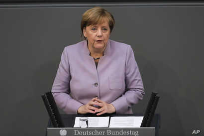 German Chancellor Angela Merkel delivers her speech about the European Union at the German parliament Bundestag in Berlin, April 27, 2017.