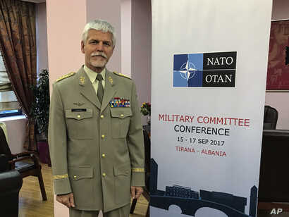 """Gen. Petr Pavel, head of NATO's Military Committee, poses during an interview with the Associated Press, in Tirana, Albania, Sept. 16, 2017. Pavel said the Zapad 2017 military maneuvers being conducted now by Russia and Belarus could be seen as """"a se..."""