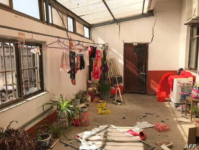 An inside view of a room in the aftermath of an explosion in Yancheng in China's eastern Jiangsu province early March 22, 2019.