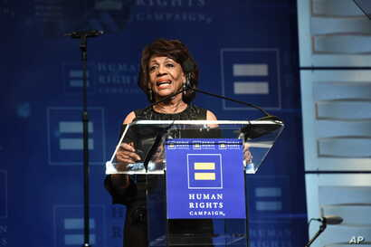 FILE - U.S. Congresswoman Maxine Waters seen at the 2018 Human Rights Campaign Los Angeles Dinner at JW Marriott L.A. Live in Los Angeles, March 10, 2018.