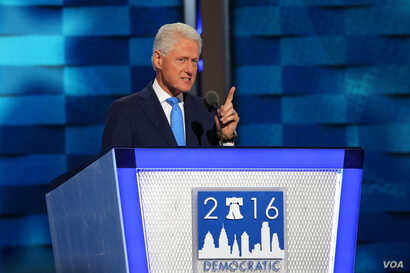 President Bill Clinton brough delegates to their feet with an impassioned appeal on behalf of his wife on the second night of the Democratic National Convention in Philadelphia, July 26, 2016 (A. Shaker/VOA)