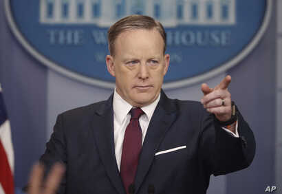 "White House press secretary Sean Spicer speaks to the media during the daily briefing at the White House in Washington, March 24, 2017. Spicer said Monday the new office Jared Kushner is to head is important and noted ""outdated and unmodernized"" depa..."