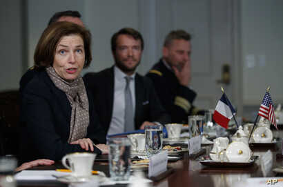 French Defense Minister Florence Parly speaks to media during a meeting with Acting Defense Secretary Patrick Shanahan at the Pentagon, March 18, 2019.