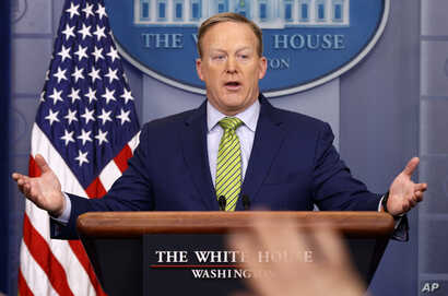 "White House press secretary Sean Spicer speaks during the daily press briefing at the White House in Washington, Feb. 2, 2017. Spicer said the type of change made Thursday regarding a change in sanctions on Russia was a ""fairly common practice."""