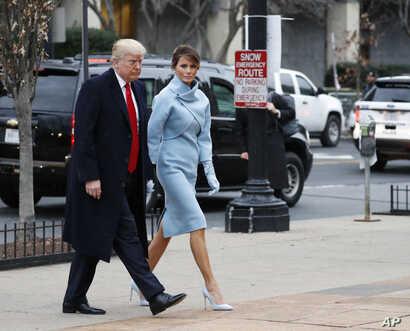 President-elect Donald Trump and his wife Melania arrives for a church service at St. John's Episcopal Church across from the White House in Washington, Jan. 20, 2017, on Donald Trump's inauguration day.