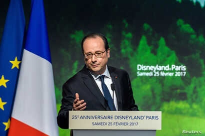 French President Francois Hollande delivers a speech during a ceremony to mark the 25th anniversary of Disneyland Paris Resort in Chessy, near Paris, Feb. 25, 2017.
