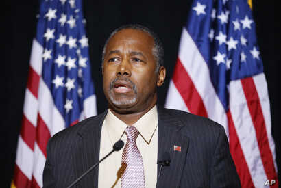 Republican presidential candidate Dr. Ben Carson speaks at a news conference in Henderson, Nevada, Nov. 16, 2015. Carson called for Congress to cut off funding for resettlement of Syrian immigrants in the U.S.