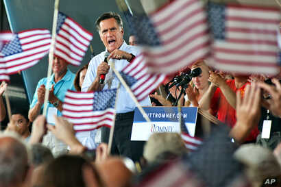 Republican presidential nominee Mitt Romney addresses the audience at a Victory Rally with the GOP team at the Military Aviation Museum in Virginia Beach, Va, Saturday, September 8, 2012.