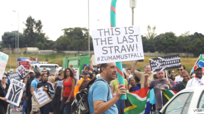 Protesters of President Jacob Zuma gather across Johannesburg, the economic capital of South Africa, April 7, 2017. (Photo courtesy of Zaheer Cassim)
