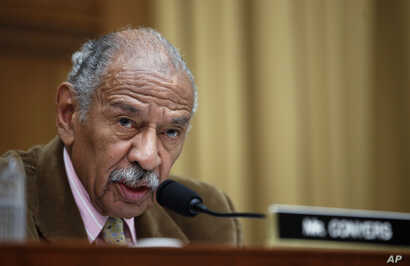 Rep. John Conyers, D-Mich., speaks during a hearing of the House Judiciary subcommittee on Crime, Terrorism, Homeland Security, and Investigations, on Capitol Hill, in Washington, April 4, 2017.