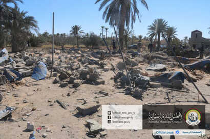 This picture released online by the Sabratha Municipal Council on Feb. 19, 2016, shows the site where U.S. warplanes struck an Islamic State training camp in Sabratha, Libya near the Tunisian border.