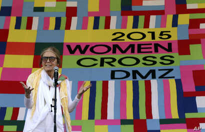 U.S. activist Gloria Steinem speaks during the welcoming ceremony for Women Cross DMZ at Imjingak Pavilion near the border village of Panmunjom in Paju, South Korea, May 24, 2015.
