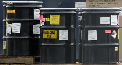 FILE - Drums holding radioactive mixed waste before treatment and disposal are seen at a facility in Clive, Utah, May 6, 2015. Russia has suspended an agreement with the U.S. to convert weapons-grade plutonium into fuel for nuclear power plants.