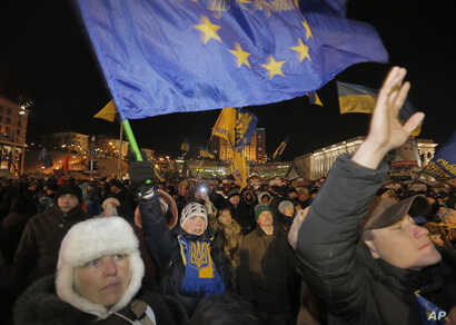 Pro-European Union activists gather during a rally in Independence Square in Kyiv, Dec. 10, 2013.
