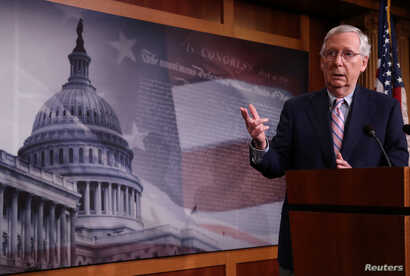U.S. Senate Majority Leader Mitch McConnell addresses a news conference after the Senate voted to confirm the Supreme Court nomination of Judge Brett Kavanaugh at the U.S. Capitol in Washington, Oct. 6, 2018.