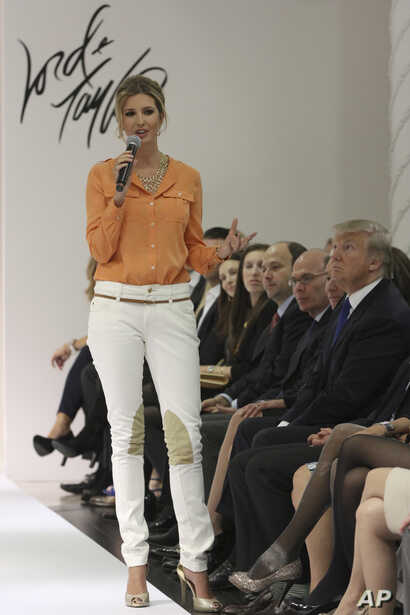 FILE - Ivanka Trump wears an outfit she designed as she speaks to the audience prior to the presentation of her Ready-To-Wear Collection at the Lord & Taylor flagship store in New York, March 28 2012.