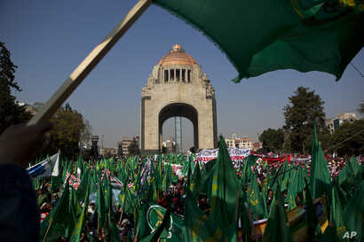 Thousands of farmers and their families wave flags as they fill the square in front of Revolution Monument in Mexico City, Jan. 31, 2017. Rural residents from across the country flooded major boulevards of the capital, calling for, among other things...