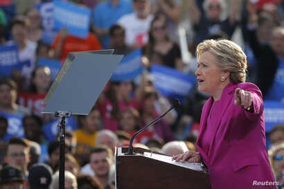 Democratic U.S. presidential nominee Hillary Clinton speaks at a campaign rally at Pitt Community College in Winterville, North Carolina, Nov. 3, 2016.