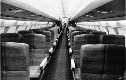 This is a view of the passenger seat section of the Concorde mockup at Filton, England, June 8, 1968, where the British Prototype 002 is under construction.