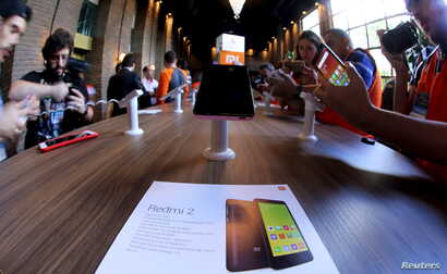 China's Xiaomi Redmi 2 smartphones are displayed to the media during their launch in Sao Paulo, Brazil, June 30, 2015.