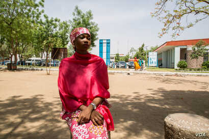 Twenty-two-year-old Khadija Musa Haruna says she feels safe at the university's campus, even though her parents worry about her and call often. (C. Oduah/VOA)