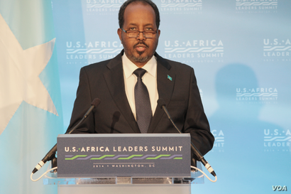 Somalia President Hassan Sheikh Mohamud speaks during the U.S. - Africa Leaders Summit, in Washington, DC, Aug. 4, 2014. (Edward Rwema/VOA)