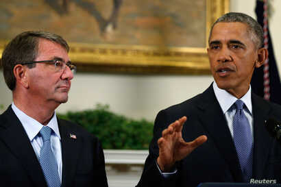U.S. Defense Ash Carter, left, listens as President  Barack Obama announces plans to slow the withdrawal of U.S. troops from Afghanistan in the Roosevelt Room at the White House, in Washington, Oct. 15, 2015.