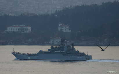 The Russian Navy's large landing ship Caesar Kunikov sets sail in the Bosphorus towards the Black Sea, in Istanbul, Turkey, Nov. 25, 2015.