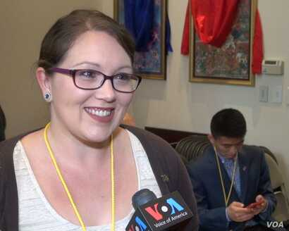 Marah Litchford of North Carolina, shown in this photo taken from video, participated in Tibet Lobby Day in Washington, March 2017.
