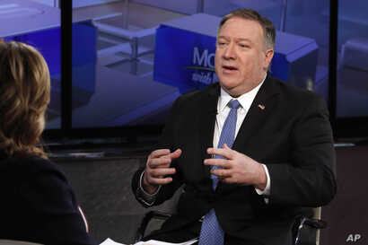 "U.S. Secretary of State Mike Pompeo is interviewed by Maria Bartiromo during her ""Mornings with Maria Bartiromo"" program on the Fox Business Network, in New York, Feb. 21, 2019."