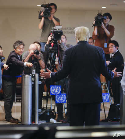 President Donald Trump makes a brief statement to the media while at U.N. headquarters in New York, Sept. 18, 2017.