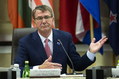 Defense Secretary Ash Carter opens the Global Coalition to Counter IS Meeting at Joint Base Andrews, Maryland, outside of Washington, D.C., July 20, 2016.