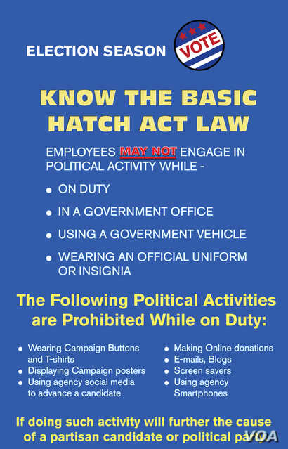 A Hatch Act sign that typically can be seen in U.S. government buildings during the election season.