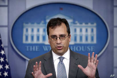 In this Dec. 12, 2017, photo, United States Citizenship and Immigration Services (USCIS) Director L. Francis Cissna speaks during the daily press briefing at the White House in Washington.