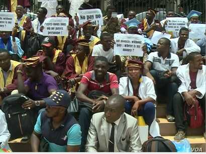Participants in teachers strike in Yaounde, Cameroon, March 27, 2017. (Photo: Moki Edwin Kindzeka for VOA)