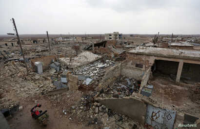 A general view shows the damage in Doudyan village in northern Aleppo Governorate, Syria, Jan. 2, 2017.