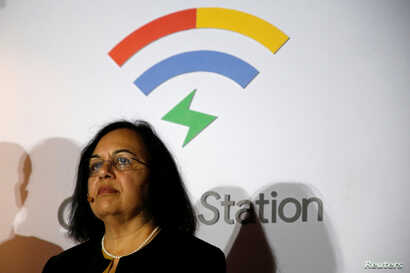 Vice President of Product Management at Google, Anjali Joshi, looks on during a news conference to announce the launching of Google Station in Mexico City, March 13, 2018.