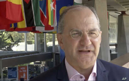 In this screen grab taken from video provided by The Associated Press, WHO Deputy Director-General of Emergency Preparedness and Response Dr Peter Salama speaks about Congo's Ebola outbreak, at the WHO Headquarters, in Geneva, Switzerland, May 17, 20...