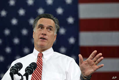 Republican presidential candidate Mitt Romney speaks at a campaign stop at Meadow Event Park, in Richmond, Virginia, Nov. 1, 2012.